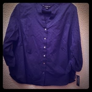 Soft to the touch bluish, purple tinted blouse.